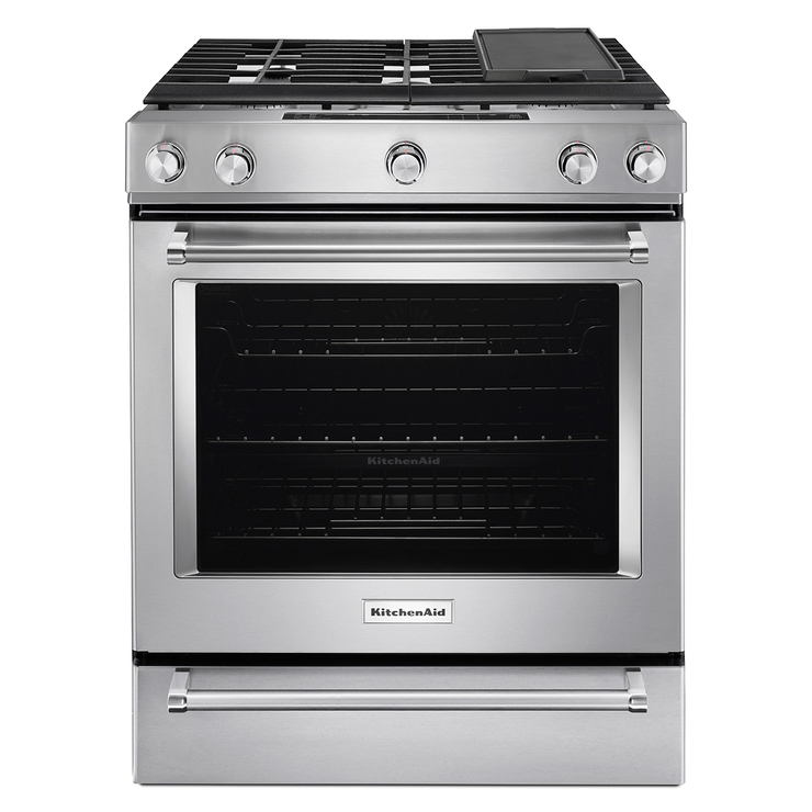"Estufa de gas KitchenAid de 30"" con 5 quemador, color acero inoxidable"