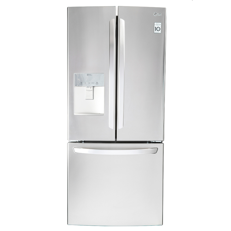 Refrigerador LG de 22' French Door Linear Inverter con dispensador de agua, acero inoxidable