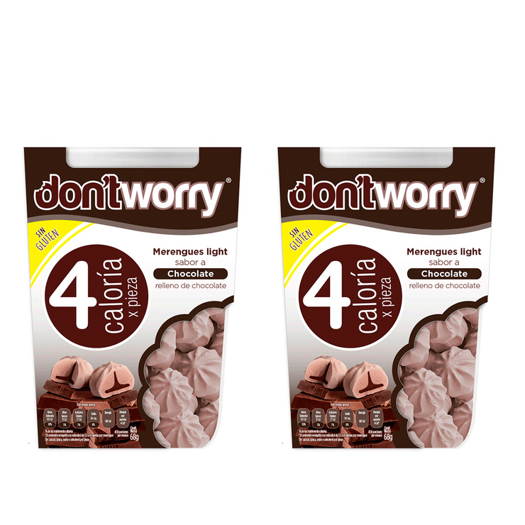 Merengues sabor Chocolate con relleno de Chocolate Don't Worry 2/68g