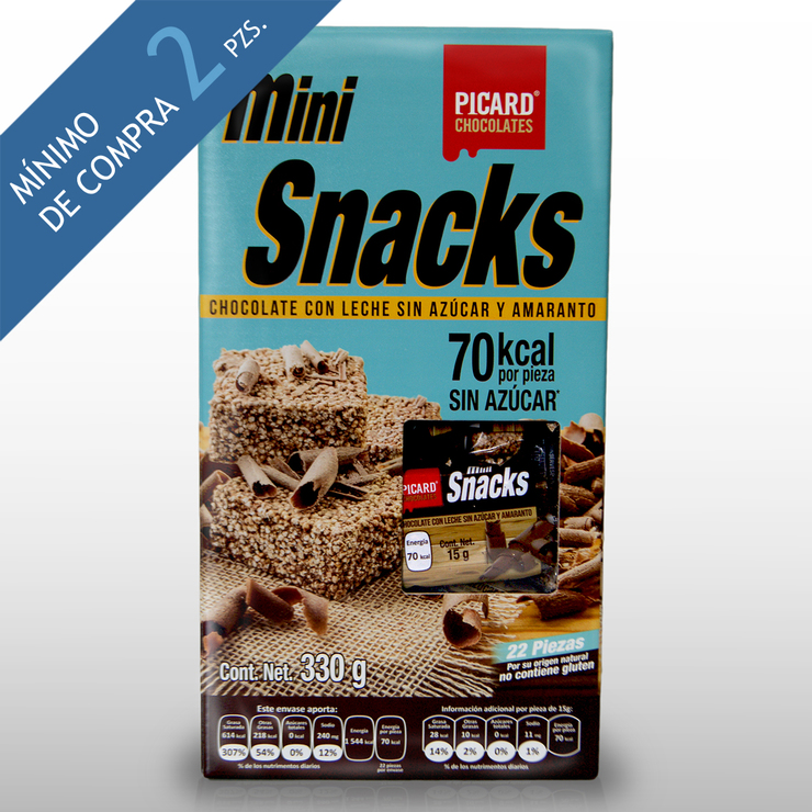 Mini Snacks de Amaranto con Chocolate sin Azúcar Picard 330g