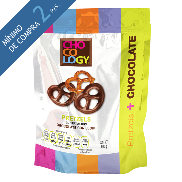 Pretzels con Chocolate Chocology 600g