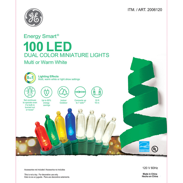 GE Energy Smart®, 100 LED Luces en Miniatura con 2 Opciones de Color